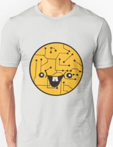 laughing face funny comic cartoon cyborg robot head ball circle electronic lines data T-Shirt
