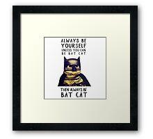 Cat meow super heroes Framed Print