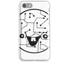 laughing face funny comic cartoon cyborg robot head ball circle electronic lines data iPhone Case/Skin