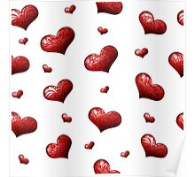 Valentine's Day Seamless Pattern with Hearts.  Poster