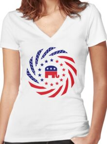 Republican Murican Patriot Flag Series Women's Fitted V-Neck T-Shirt
