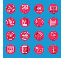 Internet Banking Icons Set in flat style Photographic Print
