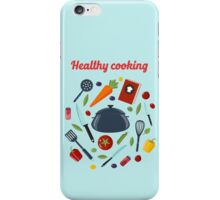 Kitchen Healthy Cooking Concept with Different Vegetables and Cutlery.  iPhone Case/Skin