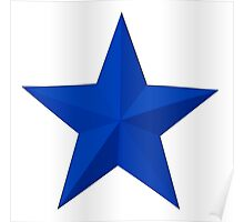 STAR, BLUE STAR, Blue sectioned star Poster