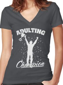 Adulting Champion, Adulting is Hard! Women's Fitted V-Neck T-Shirt