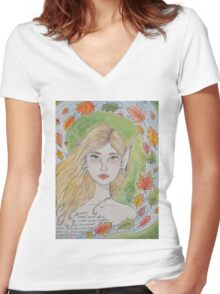 By water, wood and willow Women's Fitted V-Neck T-Shirt