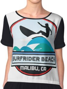 Surfing SURFRIDER BEACH MALIBU California Surf Surfer Surfboard Waves Ocean Beach Vacation Chiffon Top