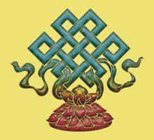 Tibetan Endless Knot, Lotus Flower, Buddhism Kids Tee