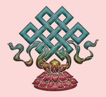 Tibetan Endless Knot, Lotus Flower, Buddhism One Piece - Long Sleeve