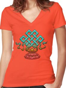 Tibetan Endless Knot, Lotus Flower, Buddhism Women's Fitted V-Neck T-Shirt