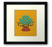 Tibetan Endless Knot, Lotus Flower, Buddhism Framed Print