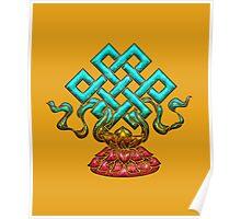 Tibetan Endless Knot, Lotus Flower, Buddhism Poster