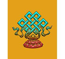 Tibetan Endless Knot, Lotus Flower, Buddhism Photographic Print