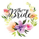 The Bride-Modern text in Black Colorful Watercolors Floral Wreath by artonwear
