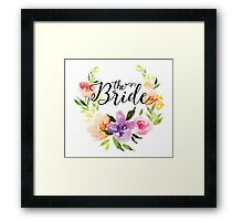 The Bride-Modern text in Black Colorful Watercolors Floral Wreath Framed Print