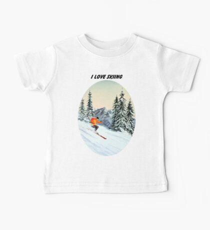 I LOVE SKIING With A Banner Baby Tee