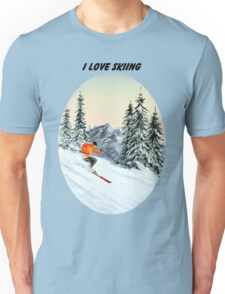 I LOVE SKIING With A Banner Unisex T-Shirt