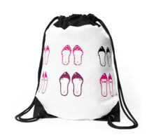 Female retro shoes collection - Pink Drawstring Bag