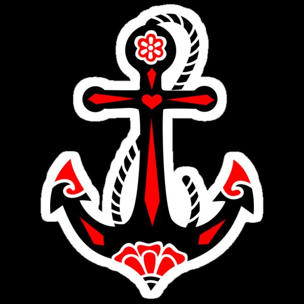 Anchor & Sacred Rose, Symbol Hope, Faith & Love by nitty-gritty