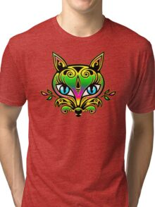 Rainbow fox with blue eyes and ornaments Tri-blend T-Shirt