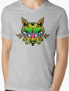 Rainbow fox with blue eyes and ornaments Mens V-Neck T-Shirt