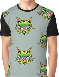 Rainbow fox with blue eyes and ornaments Graphic T-Shirt