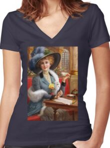 Tea and Letters Women's Fitted V-Neck T-Shirt