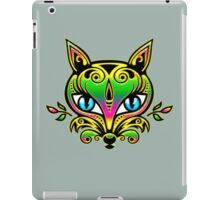Rainbow fox with blue eyes and ornaments iPad Case/Skin