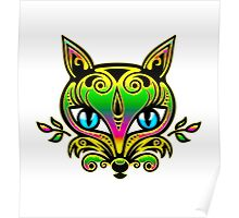Rainbow fox with blue eyes and ornaments Poster