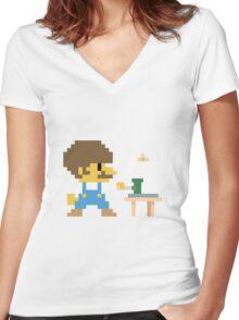 Super BobRossario Bros. Women's Fitted V-Neck T-Shirt
