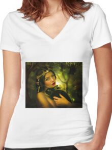Forest Elf Women's Fitted V-Neck T-Shirt