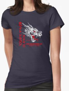 White Dragon Noodle Bar (aged look) Womens Fitted T-Shirt