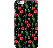 Red poppy on black iPhone Case/Skin