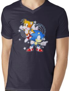 Classic Sonic and Tails 25th Anniversary Style Mens V-Neck T-Shirt