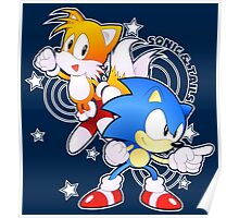 Classic Sonic and Tails 25th Anniversary Style Poster