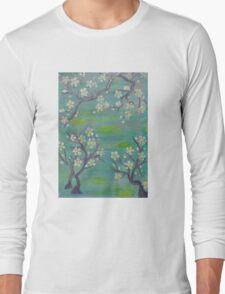 Blue Japanese Trees Long Sleeve T-Shirt
