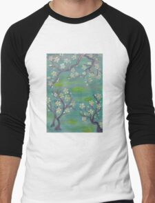 Blue Japanese Trees Men's Baseball ¾ T-Shirt