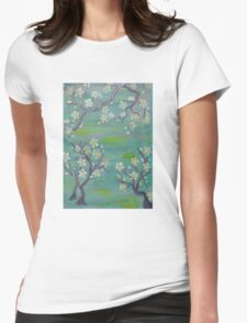 Blue Japanese Trees Womens Fitted T-Shirt
