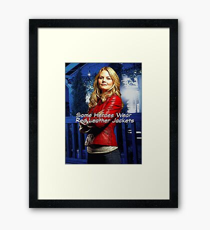 """""""Some Heroes Wear Red Leather Jackets"""" Framed Print"""