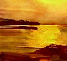 Yellow and Orange Sea Art Sticker