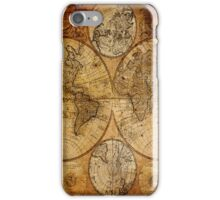 Traveller Gifts travel souvenir vintage world map iPhone Case/Skin