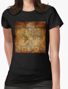 Traveller Gifts travel souvenir vintage world map Womens Fitted T-Shirt