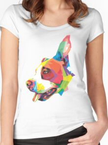 animal pet colorful art  Women's Fitted Scoop T-Shirt