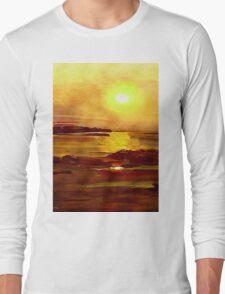 Yellow and Orange Sea Art Long Sleeve T-Shirt