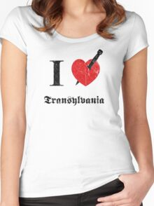 I love Transylvania (black eroded font) Women's Fitted Scoop T-Shirt