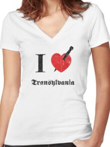 I love Transylvania (black eroded font) Women's Fitted V-Neck T-Shirt