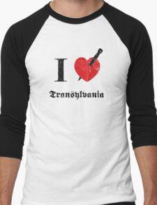 I love Transylvania (black eroded font) Men's Baseball ¾ T-Shirt