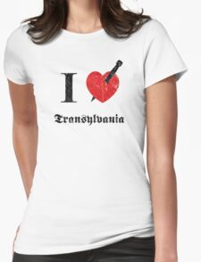 I love Transylvania (black eroded font) Womens Fitted T-Shirt