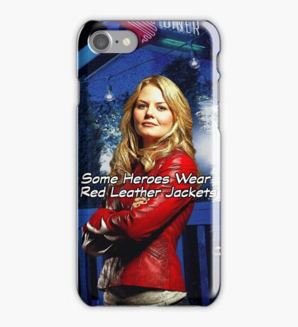 """Some Heroes Wear Red Leather Jackets"" iPhone Case/Skin"