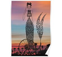 Coachella Mermaid - Sunset Colors Poster